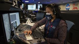 Swati Mohan '04 at NASA's Jet Propulsion Laboratory mission control on Feb. 18, prior to the Perseverance landing.